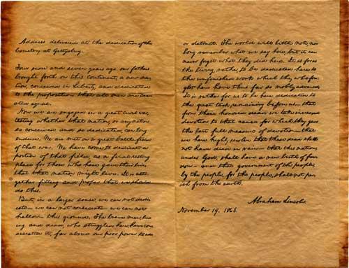 Writing the Gettysburg Address